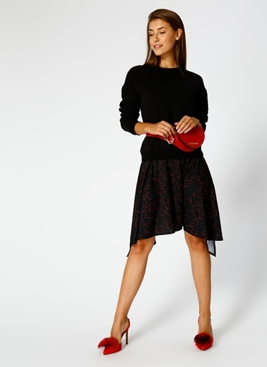 Black Pepper Uzun Kollu Desenli Elbise Siyah